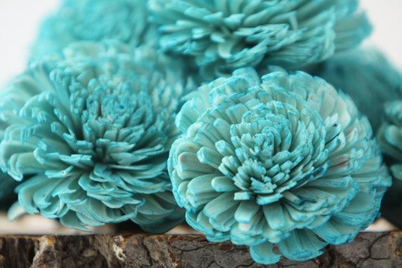 Turquoise Large Chorki Sola Flowers - Set of 10