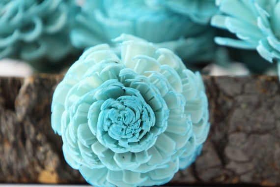 Turquoise Large Chorki Sola Flowers - Set of 10