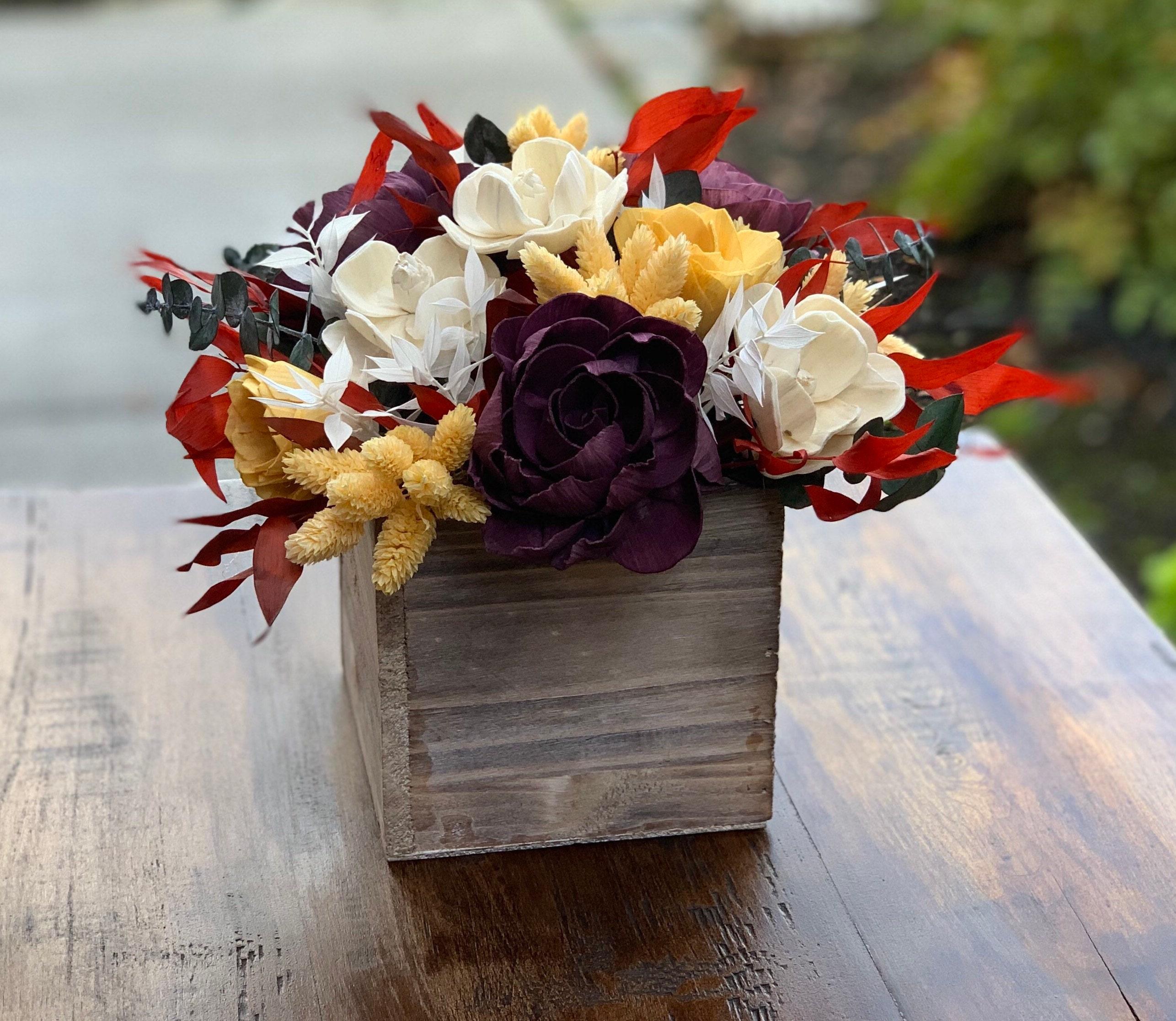 Boho Feel Fall Keepsake Sola Flower Arrangement Autumn Floral Centerpiece