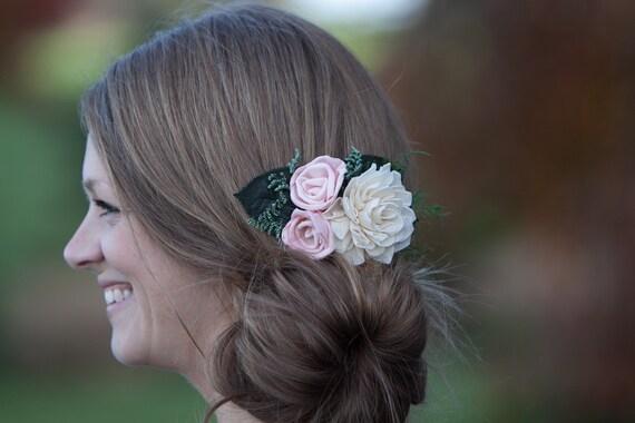 Blush Pink And Ivory Boho Bridal Hair Comb