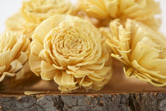 Mustard Yellow Large Chorki Sola Flowers - Set of 10, Mustard Yellow Sola Flowers, Chorki Sola Flowers, Sola Flower, Wood Sola Flowers