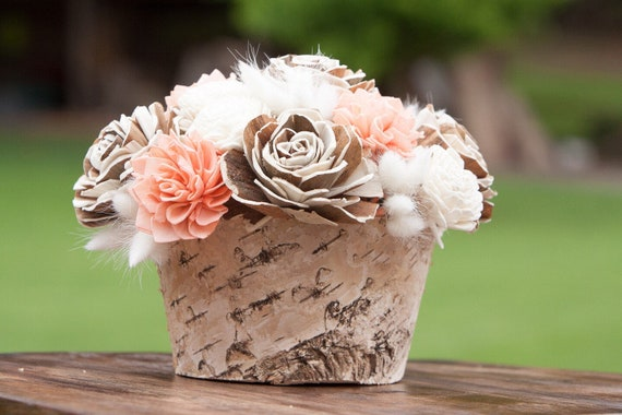 Keepsake Peach and Tan Birch Bark Sola Flower Centerpiece