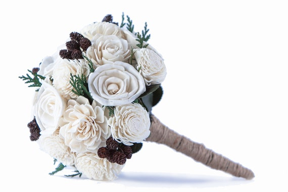 Rustic Bridesmaidl Bouquet - Ivory Winter or Fall Bridesmaid Bouquet - Bridesmaid's Bouquet - Woodland bridal bouquet - Wedding Bouquets