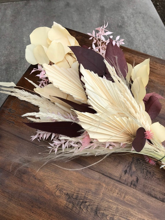 Pink and Burgundy Preserved Dried Flower Bouquet - Dried Flower Vase Bouquet - Vase Drop In Arrangement