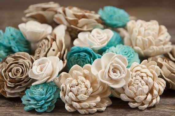 Rustic Turquoise Sola Flower Mix - Available in sets of 45 and 100