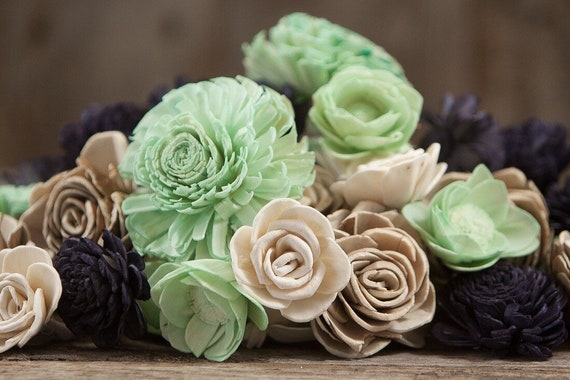 Mint and Navy Sola Flower Mix - Available as a Set of 45 and Set of 100 sola flowers