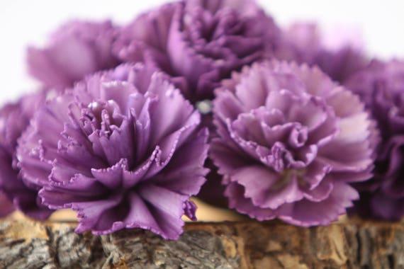Purple Carnation Sola Flowers - SET OF 10 , Sola Flowers, Wood Sola Flowers, Carnation Sola, Balsa Wood Flowers, Craft Flowers