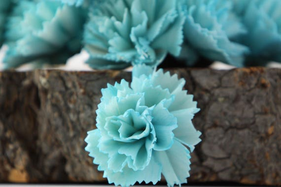 Turquoise Carnation Sola Flowers - SET OF 10 , Aquamarine Flowers, Carnation Sola, Balsa Wood Flowers, Craft Flowers, sky blue sola flower