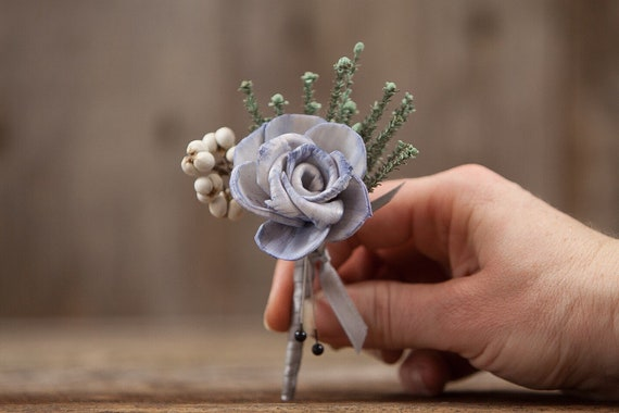 Steele Blue Boutonnière, Wedding Boutonnière , Pin On Boutonniere