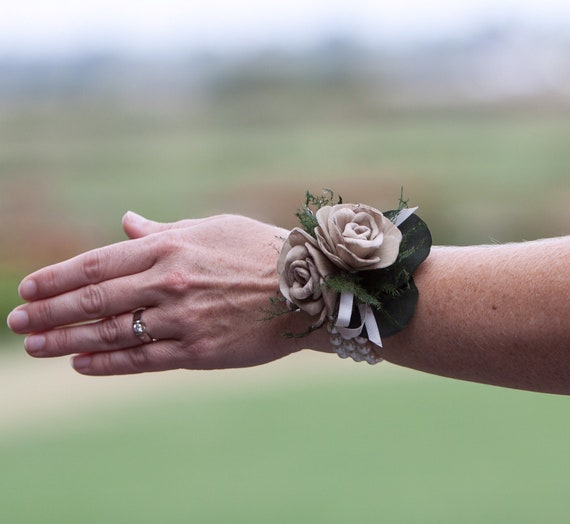 Woman's Tan and Ivory Wristlet Corsage - Keepsake Corsage for Wrist