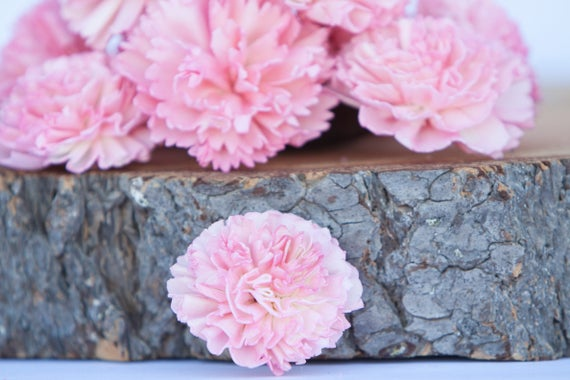 Pink Carnation Sola Flowers - SET OF 10 , Sola Flowers, Pink Wood Sola Flowers,  Carnation Sola, Balsa Wood Flower, Craft Flowers