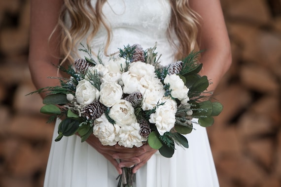 Frosted Pinecone Boho Bridal Bouquet