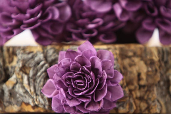 Purple Dahlia Sola Flowers - Set of 10, Folded Sola FLowers, Sola Flowers, Wood Sola Flowers, Balsa Wood Flowers, Craft Flowers