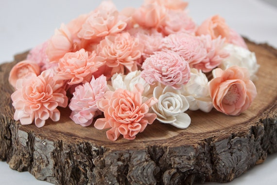 Peach and Blush Pink Flower Mix - Available in sets of 45 and 100