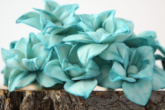 Teal Magnolia Sola Flowers - SET OF 10 , Sola Flowers, Teal Wood Sola Flowers, Magnolia Sola, Balsa Wood, teal craft flowers, DIY flowers