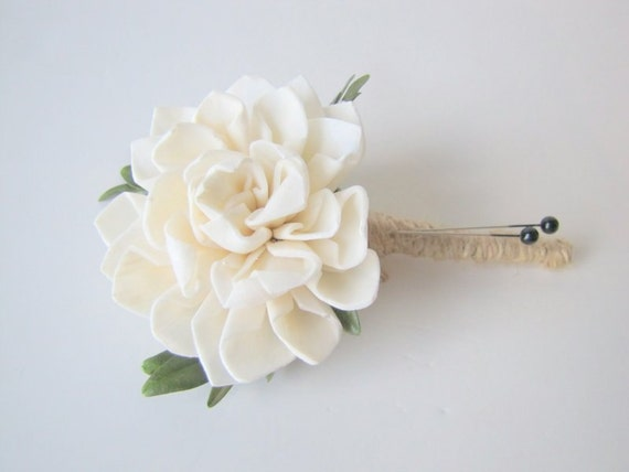 Dahlia and Jute boutonniere, Wood Sola Flower Boutonniere