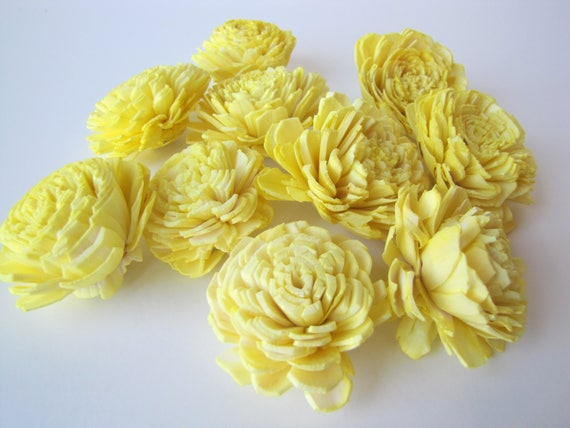 Lemon Yellow Belly Sola Flowers - SET OF 10 , Sola Flowers, Wood Sola Flowers, Belly Sola, Balsa Wood Flowers
