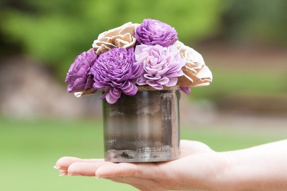Small Purple Sola Flower Arrangement -Keepsake Sola Flower Arrangement
