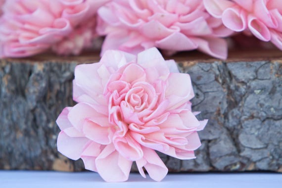 Pink Dahlia Sola Flowers - Set of 10, Folded Sola FLowers, Sola Flowers, Sola Flower, Wood Sola Flowers, Balsa Wood FLowers, Craft Flowers