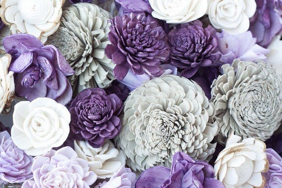 Shades of Purple Sola Flower Mix - Available in sets of 45 and 100