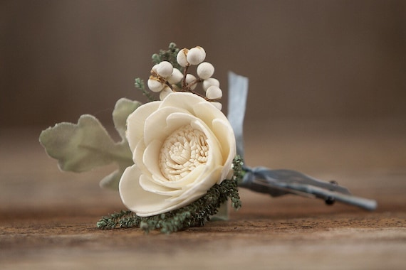 Dusty Blue and Grey Boutonnière, Boho Boutonnière, Pin On Boutonniere