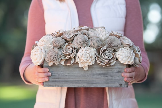 Rectangular Rustic Keepsake Sola Flower Arrangement - Ships FREE, Sola Flower Neutral Arrangement, Flower Centerpiece, Forever flowers