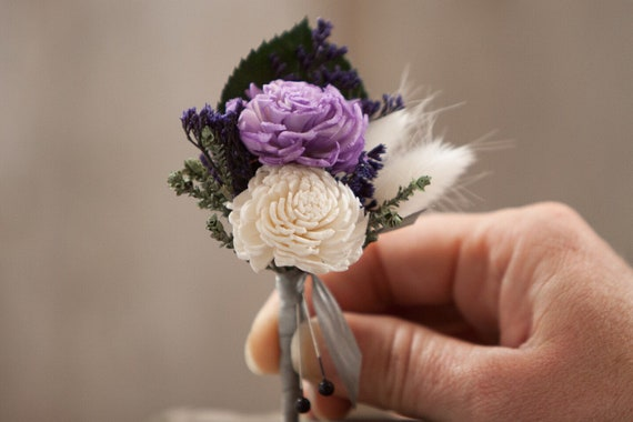 Lavender and White  Pin On Boutonniere with Bunny Tail Grass and Silk Ribbon