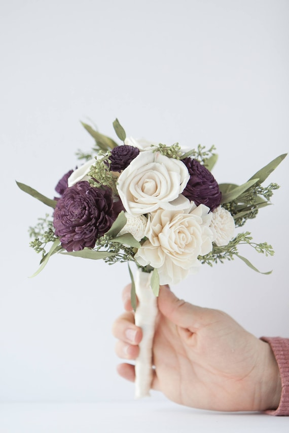 Dark Purple and Ivory Toss Bouquet - Toss Bouquet - Mini Bouquet - Wedding Bouquets