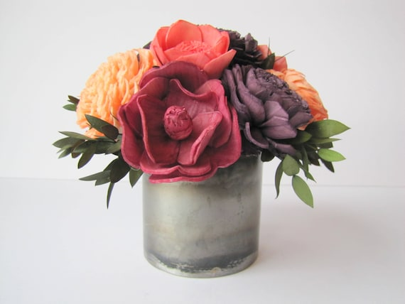 Small Cheerful Flower Arrangement - Keepsake Sola Flower Arrangement - Keepsake Centerpiece - Home Decor Flowers