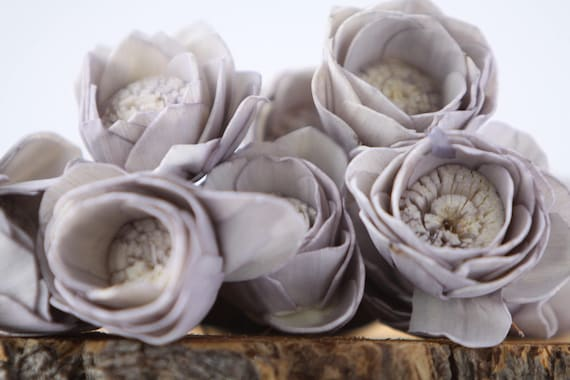 Grey Camellia Sola Flowers- SET OF 10 , Gray Sola Flowers,  Wood Sola Flowers, Camelia Sola, Wedding DIY, Grey Crafting Flowers, Craft