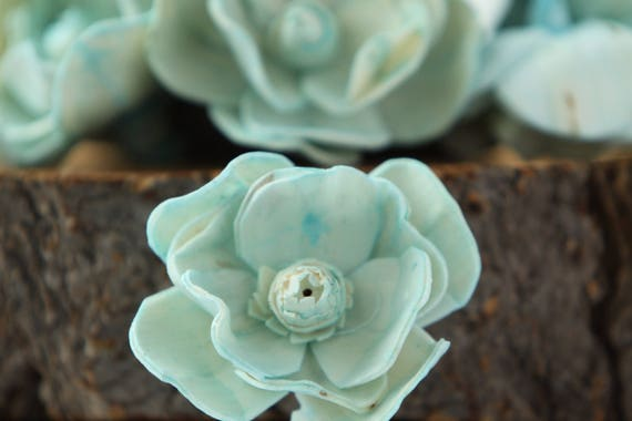 Turquoise Sola Magnolia Flowers- SET OF 10