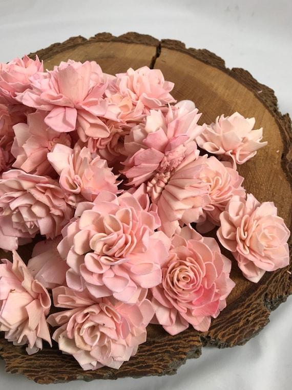 Blush Pink Grade B Dahlia Sola Flowers - Set of 35 Folded Sola FLowers, Sola Flowers, Balsa Wood Flowers, Craft Flowers