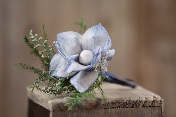 Steel Blue Star Magnolia Pin On Boutonniere