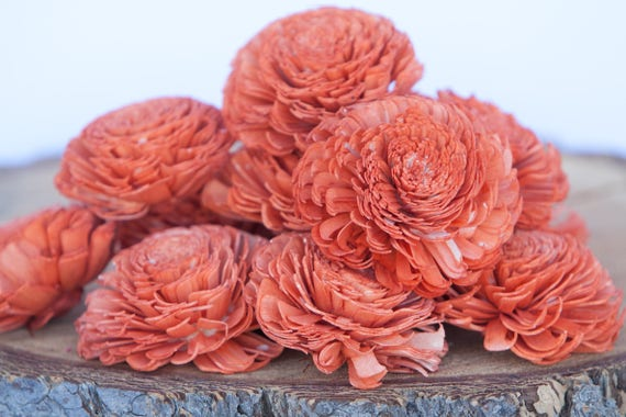 Orange Large Chorki Sola Flowers - Set of 10, Orange Sola Flowers, Chorki Sola Flowers, Sola Flower, Wood Sola Flowers, Keepsake flowers