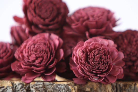 Aubergine Belly Sola Flowers - SET OF 10 , Wine Sola Flowers, Wood Sola Flowers, Belli Sola, Balsa Wood Flowers, Sola Flowers, craft flowers