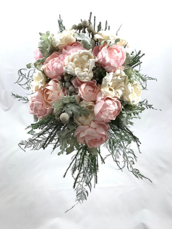Small Blush Pink and Ivory Teardrop Bridal Bouquet - Bride's Keepsake Bouquet