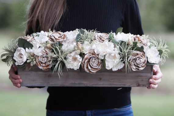 Long Neutral Rectangular Sola Flower Centerpiece with Faux Succulents