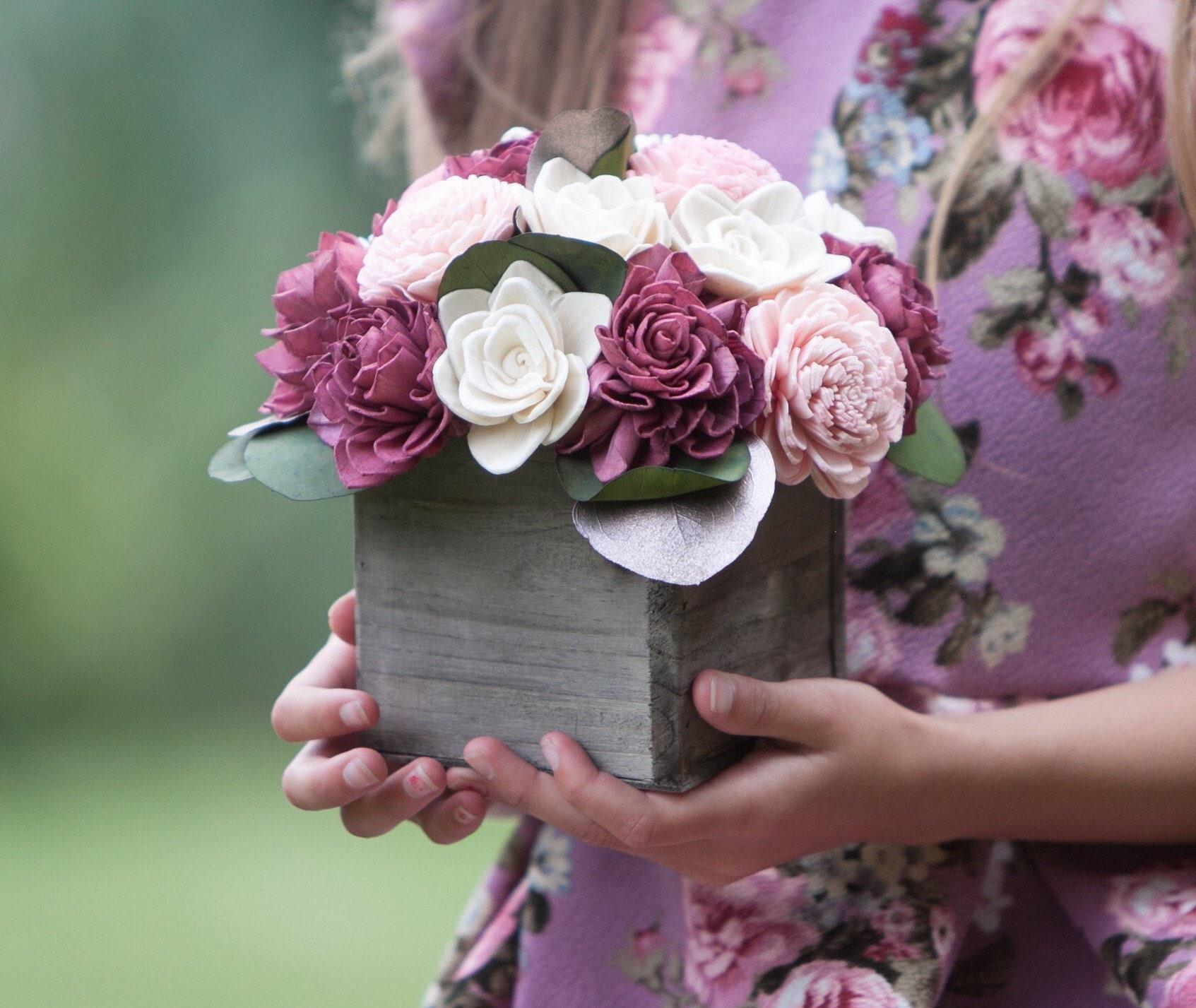 Pink Burgundy And Rose Gold Sola Flower Arrangement