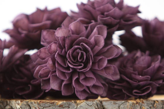 Eggplant Dahlia Sola Flowers - Set of 10, Folded Sola FLowers, Sola Flowers, Wood Sola Flowers, Balsa Wood Flowers, Craft Flowers