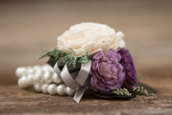 Woman's Purple Beaded Wristlet Corsage