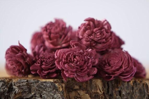Aubergine Mini Chorki Flowers - Set of 15 , Sangria mini chorki sola flowers, wine sola flowers, balsa wood flowers, balsa wood sola flowers
