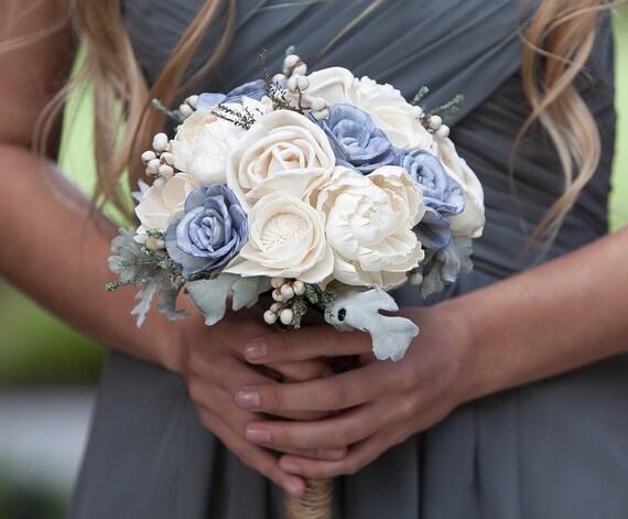 Steele Blue and Grey Bridesmaid Bouquet - Keepsake Wedding Bouquet