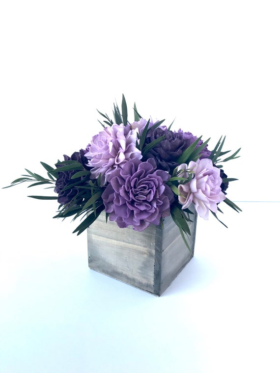 Purple Dahlia Sola Flower Arrangement, Sola Flower Centerpiece, Sola Flower bouquet, Rustic Floral Arrangement