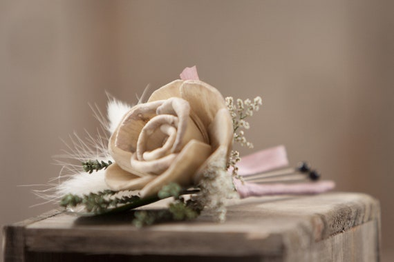 Tan Pin On Boutonniere with Bunny Tail Grass and Silk Ribbon