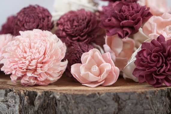 Burgundy and Blush Pink Sola Flower Mix - Available in sets of 45 and 100