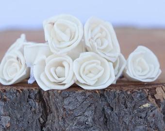 Miniature Rose Sola Flowers - SET OF 15, 3 cm Ivory Sola Flowers, Wood Sola Flowers,  Balsa Wood Flowers, craft flowers, Cream flowers