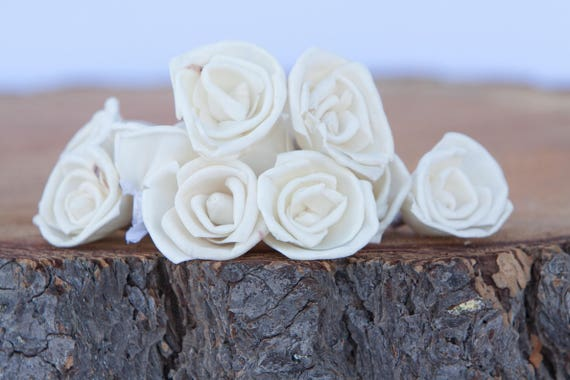 Miniature Rose Sola Flowers - SET OF 15, 3 cm Ivory Sola Flowers, Wood Sola Flowers,  Balsa Wood Flowers, craft flowers, Cream flowers