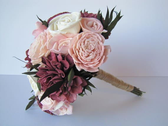 Burgundy and Blush Pink  Sola Flower Bridesmaid Bouquet, Bridesmaid Bouquet,  Sola Flower wedding bouquet, sola flower bouquet. Marsala