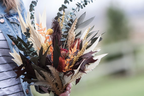 Fall Dried Flower Bouquet - Dried Flower Vase Arrangement - Wrapped Dried Floral Bouquet
