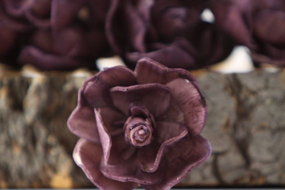 Eggplant Sola Magnolia Flowers- SET OF 10 , Eggplant Sola Flowers, Wood Sola Flowers, Magnolia Sola, Balsa Wood Flowers, Dark Purple Flowers